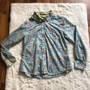 Boden floral patterned button up shirt size 8 petite